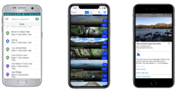 Screenshots of the Guthook Guides Baxter State Park guide.