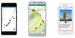 Screenshots of the Guthook Guides Cotswold Way guide.