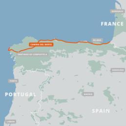 A map of the Camino del Norte.
