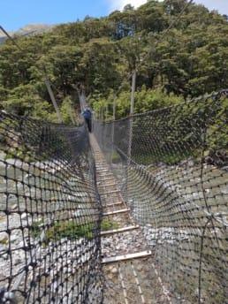 A hiker walking across a rope bridge on the Te Araroa.