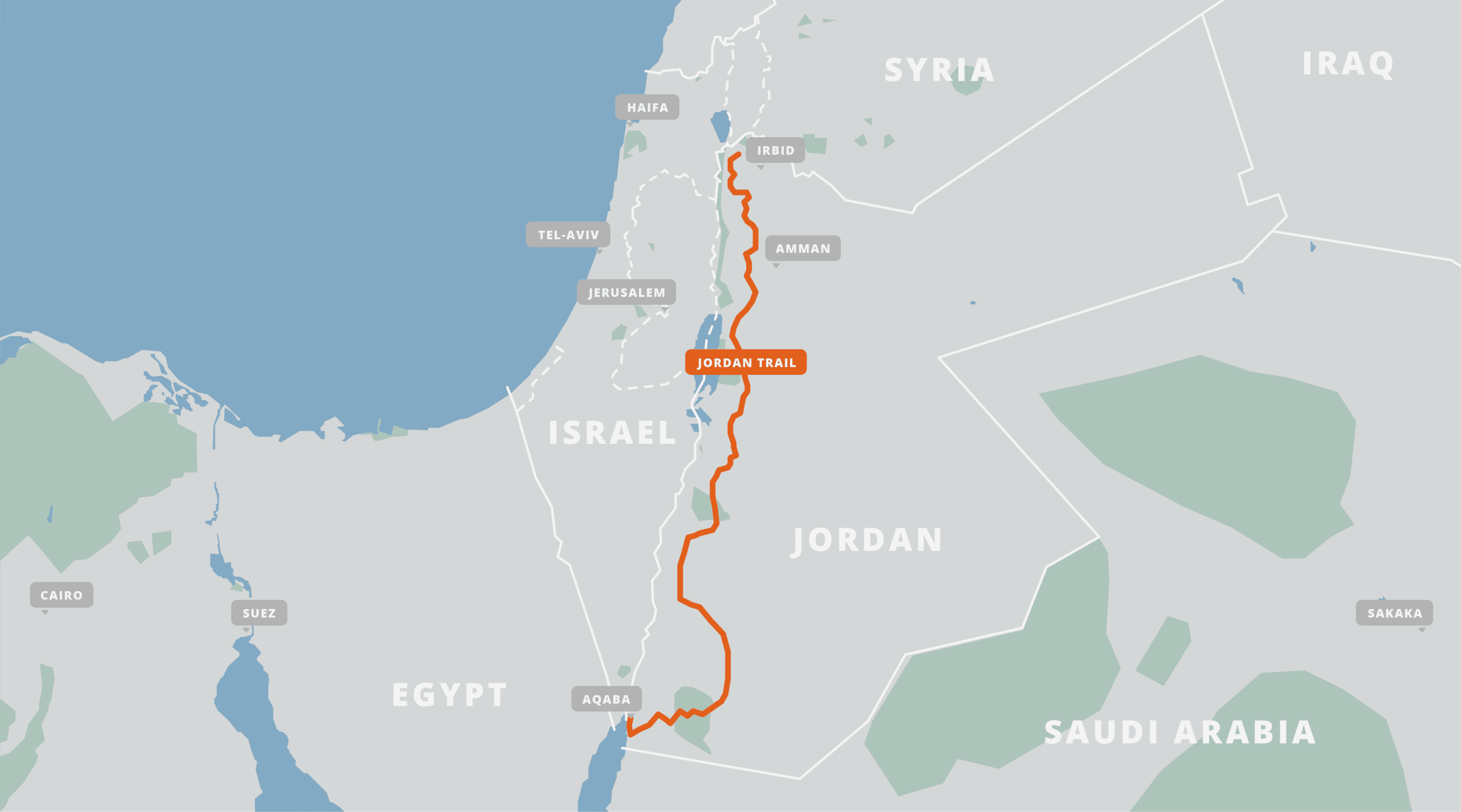 A map of the Jordan Trail.