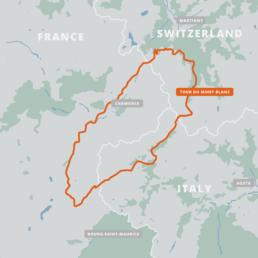 A map of the Tour du Mont Blanc.