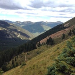 A view through tall mountains and green meadows with a forest of evergreen trees.