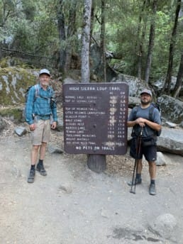 Two hikers on the John Muir Trail.