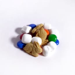 A pile of GORP trail mix including m&ms and marshmallows.