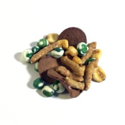 A pile of GORP trail mix including peas and chips.