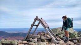 Thru-hiker at Mount Katahdin on the Appalachian Trail