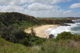Ocean waves lap a wide sandy beach below green headlands.