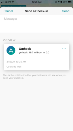 Send a check-in in the Guthook Guides app.
