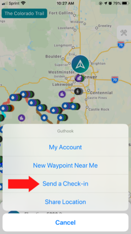 Tap on send a check-in in the menu in your Guthook Guides app