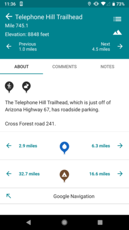 A screenshot of the Guthook Guides app.