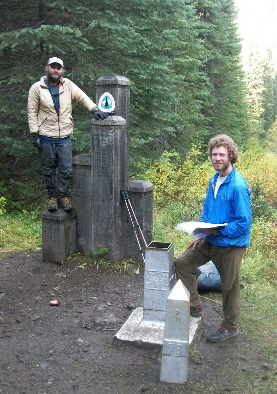 Guthook and Paul standing at the northern terminus of the PCT.