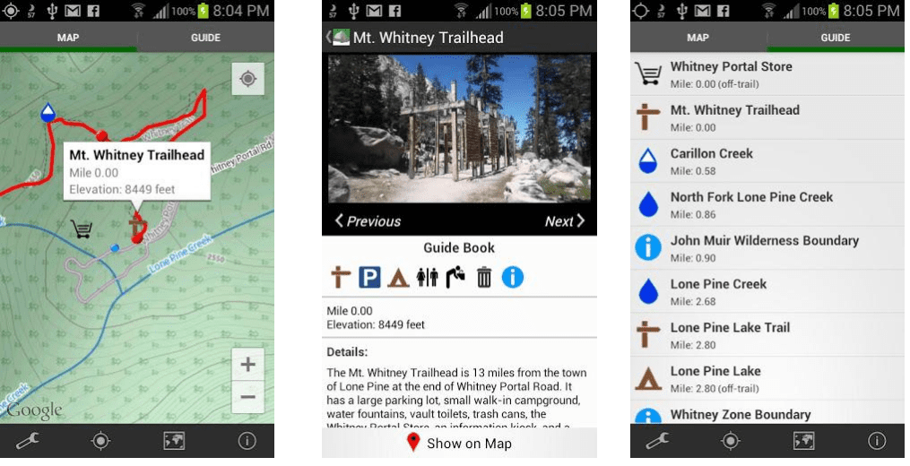 The first Guthook Guides app for Android screenshots