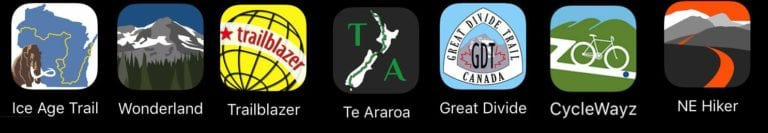 Guthook Guides app icons for different trails.