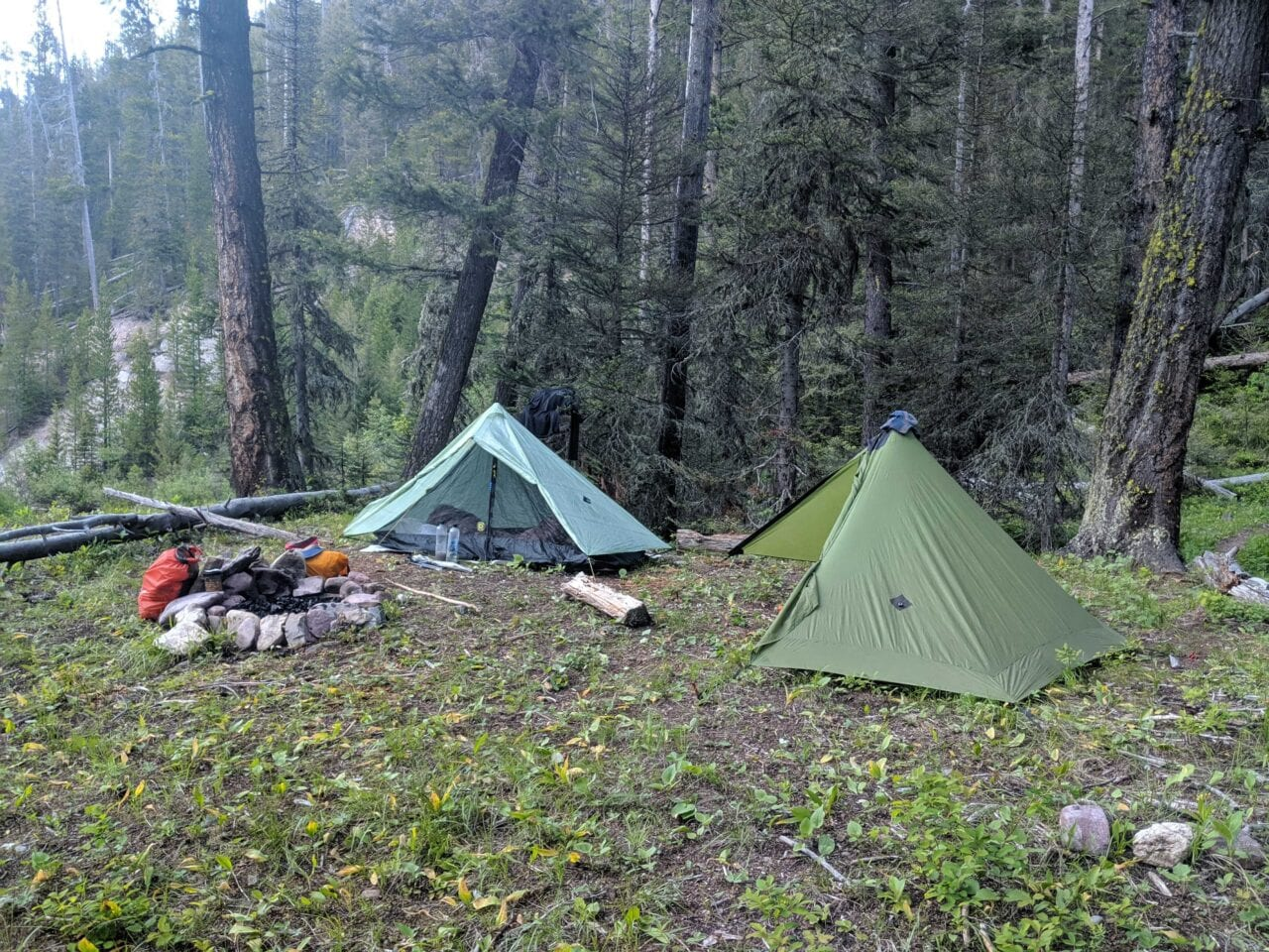 Two tents set up just outside Benchmark Trailhead in the Bob Marshall Wilderness, Montana