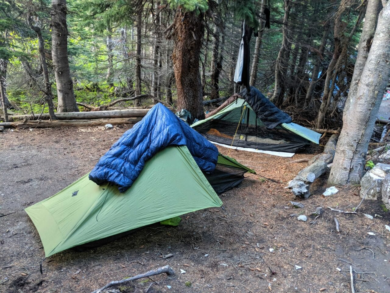 Two tents set up on a campsite in Glacier National Park, Montana