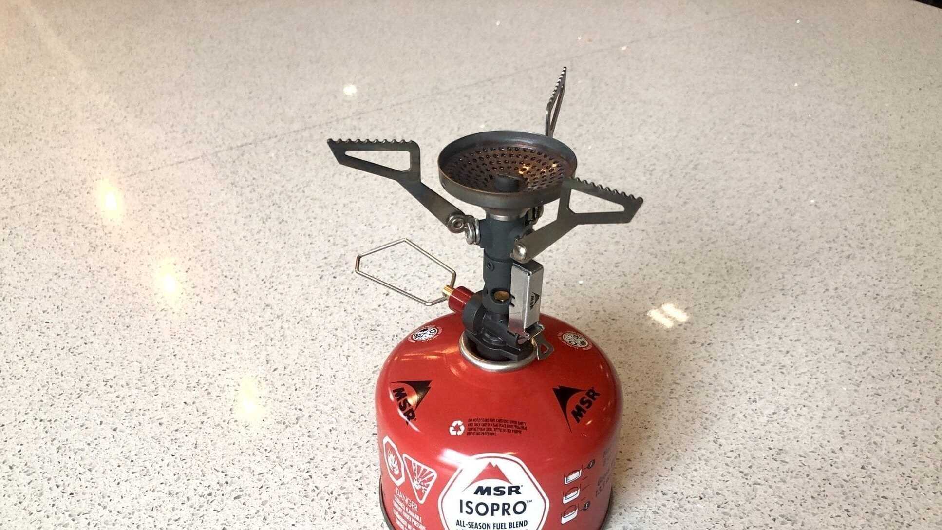 The MSR PocketRocket Stove attached to a fuel canister.