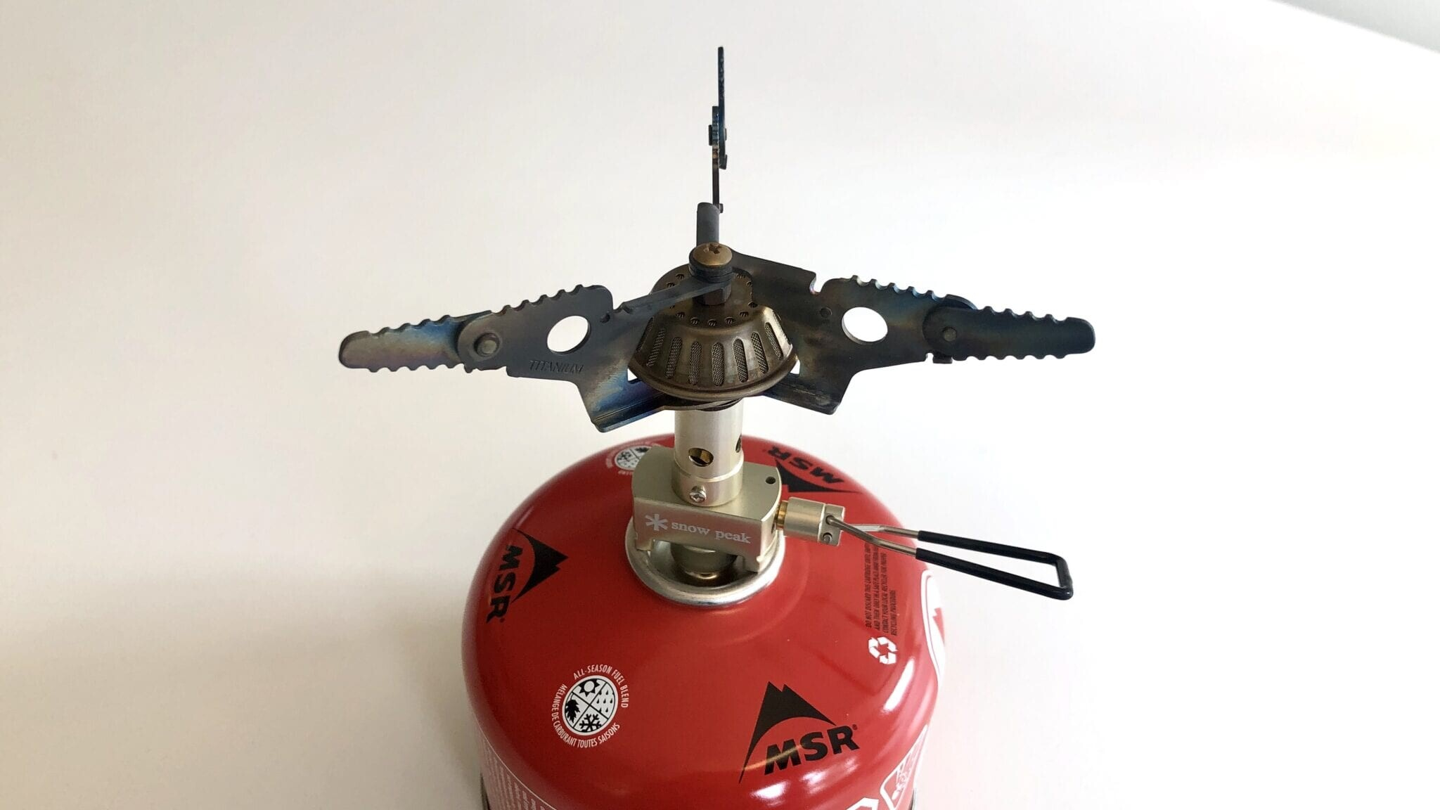 The Snow Peak LiteMax stove attached to a fuel canister.