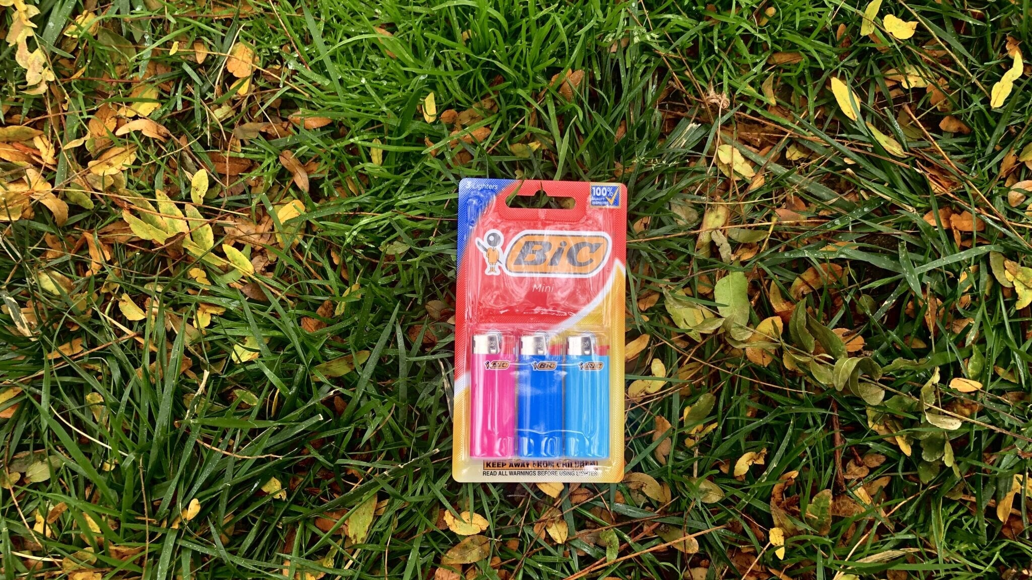 A pack of 3 BIC Mini lighters in the grass.